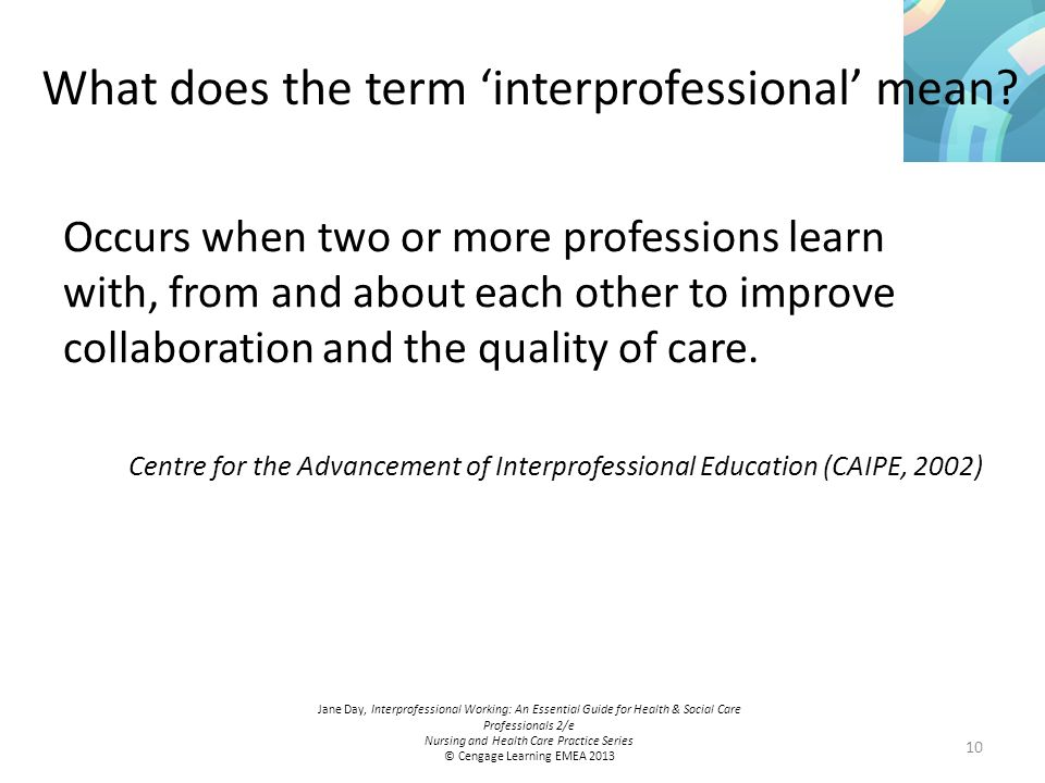 interprofessional and interagency working Interprofessional education for famil v-centered services:  while the primary focus ofour work at the research  needed for interprofessional, interagency and.