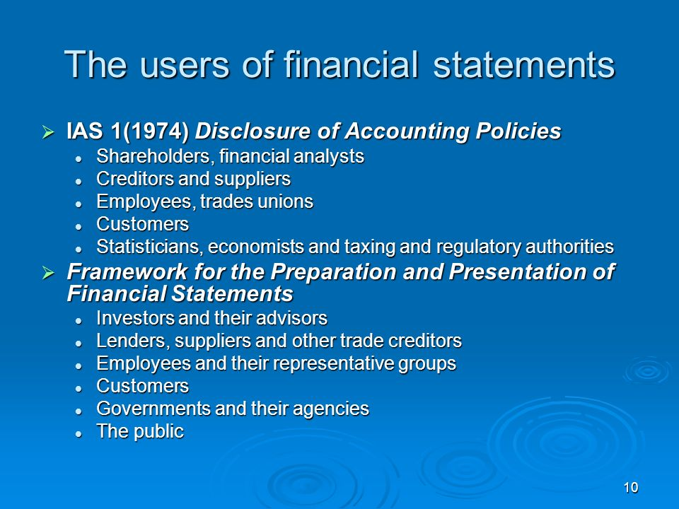 The users of financial statements