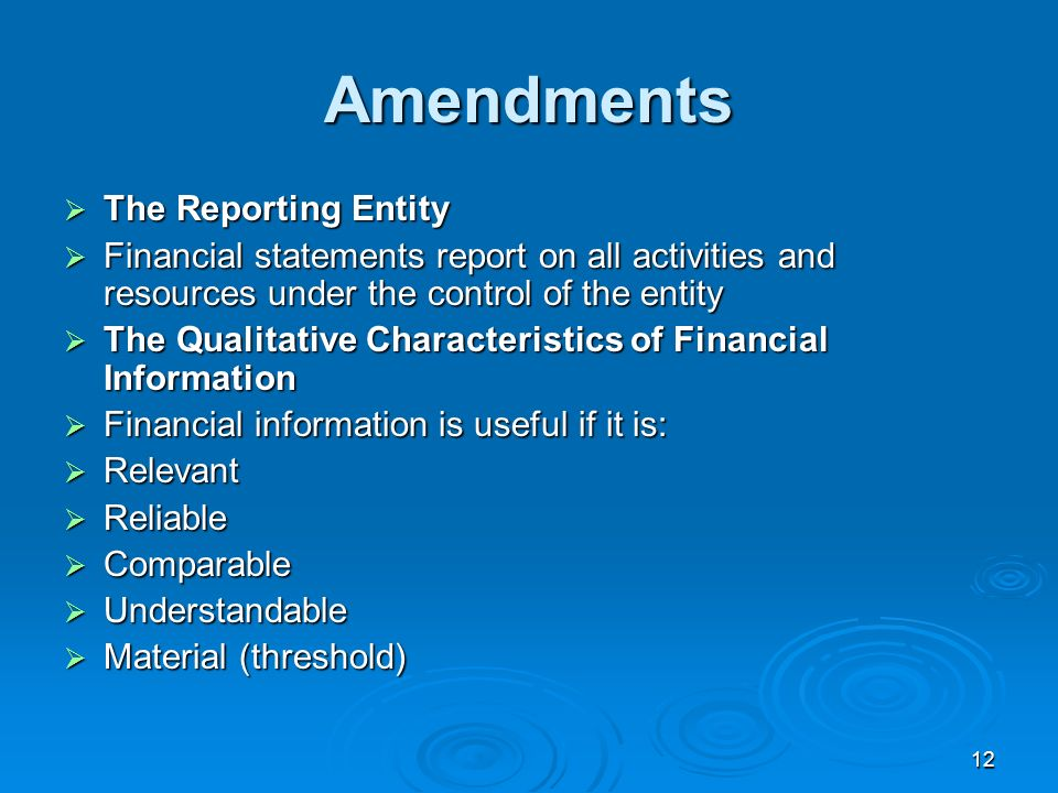 Amendments The Reporting Entity