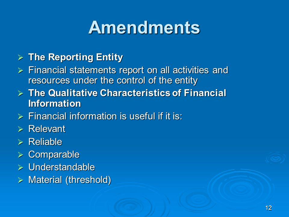 Amendments The Reporting Entity