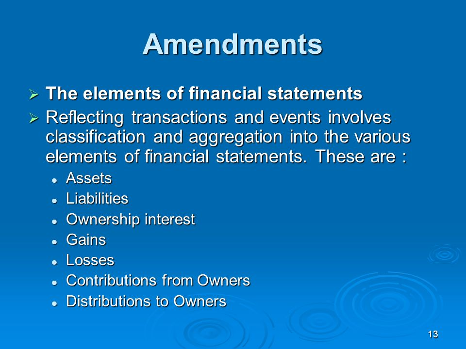 Amendments The elements of financial statements