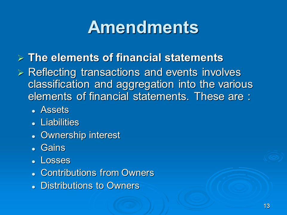 Amendments The elements of financial statements