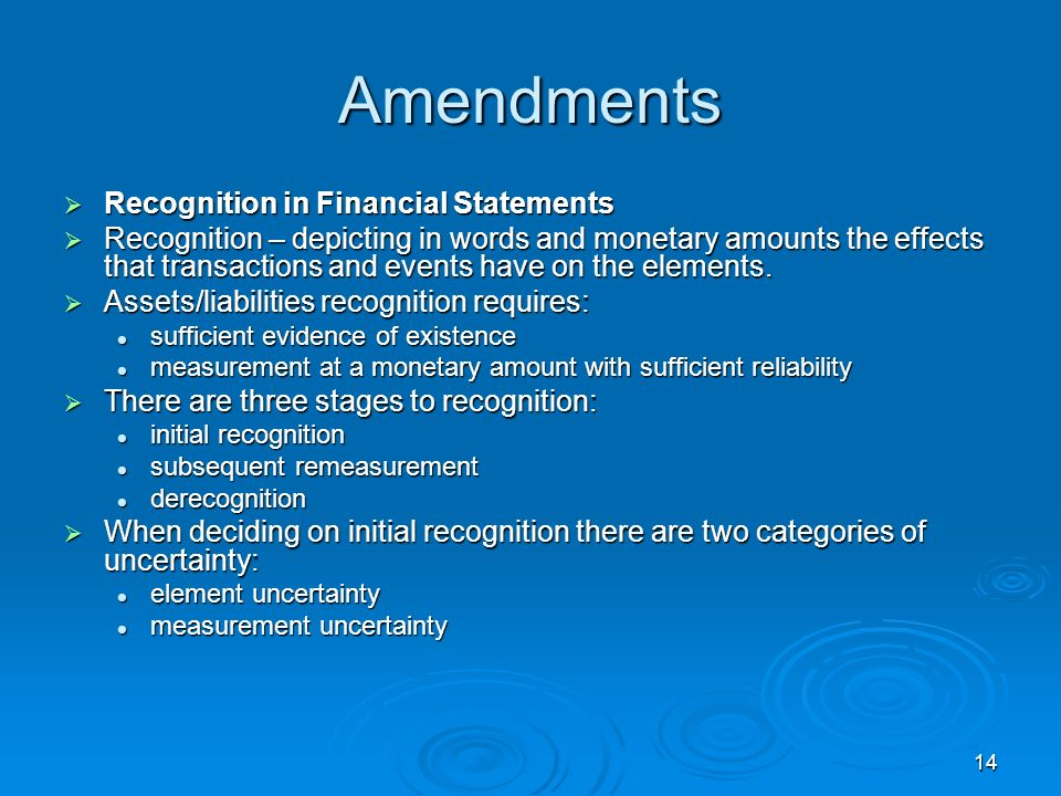 Amendments Recognition in Financial Statements