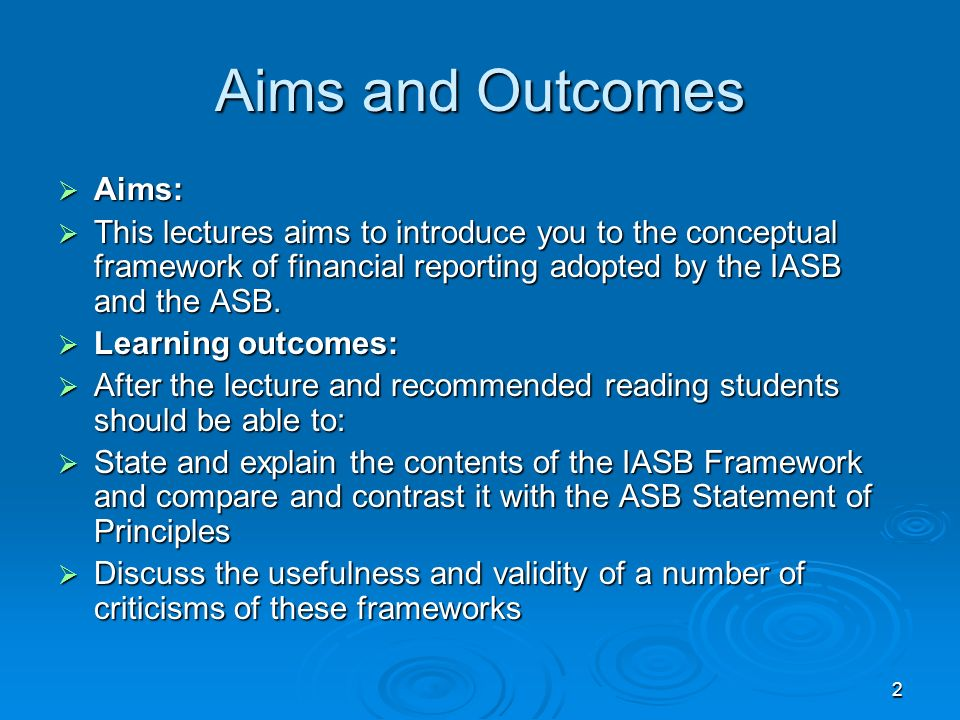 Aims and Outcomes Aims: