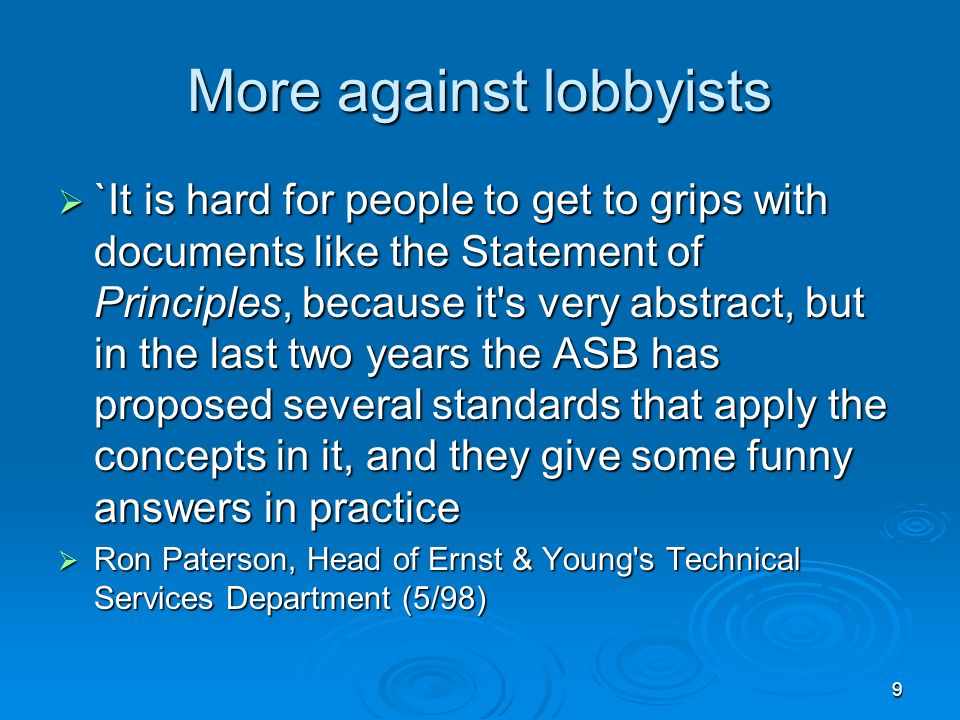 More against lobbyists