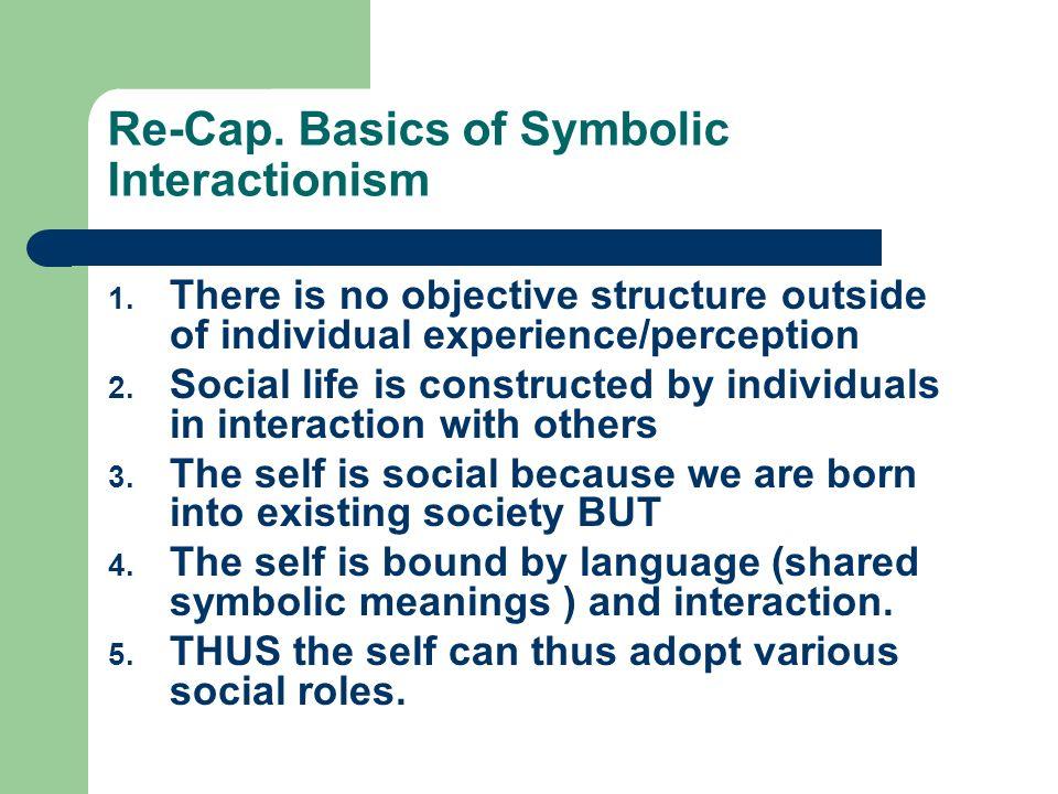 Re-Cap. Basics of Symbolic Interactionism