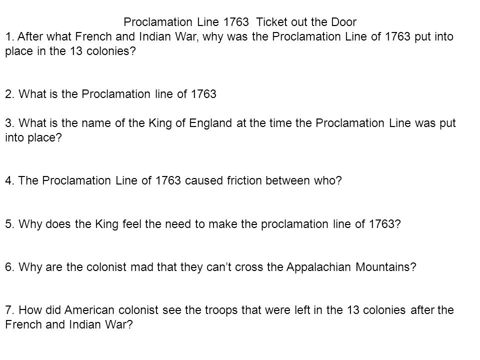 Proclamation Line 1763 Ticket out the Door
