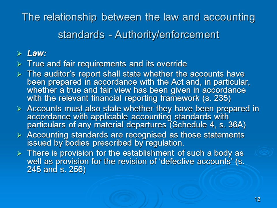 The relationship between the law and accounting standards - Authority/enforcement