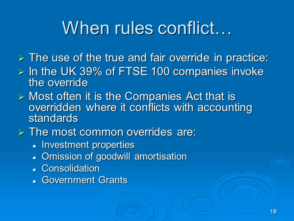 When rules conflict… The use of the true and fair override in practice: In the UK 39% of FTSE 100 companies invoke the override.