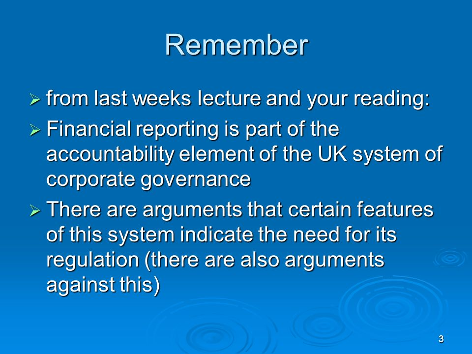 Remember from last weeks lecture and your reading: