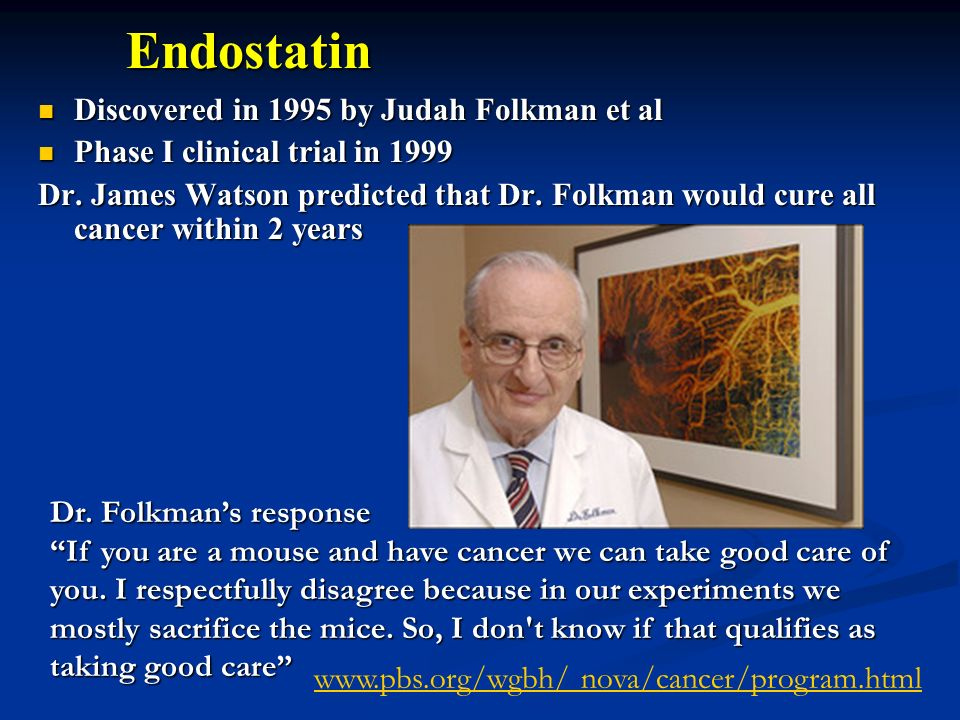 Endostatin Discovered in 1995 by Judah Folkman et al