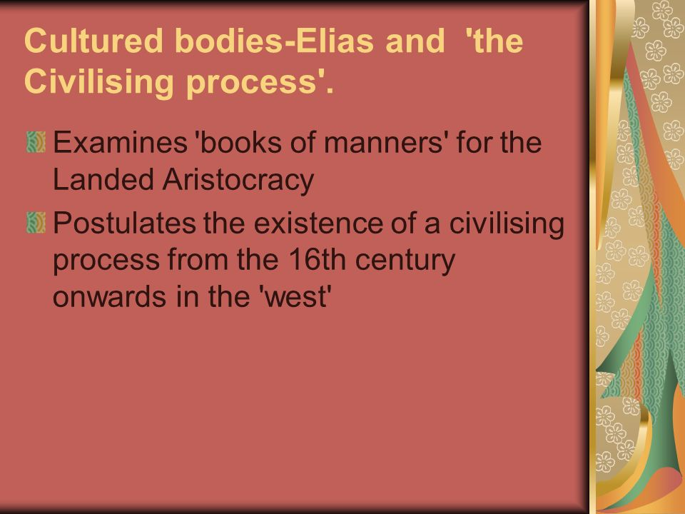 Cultured bodies-Elias and the Civilising process .