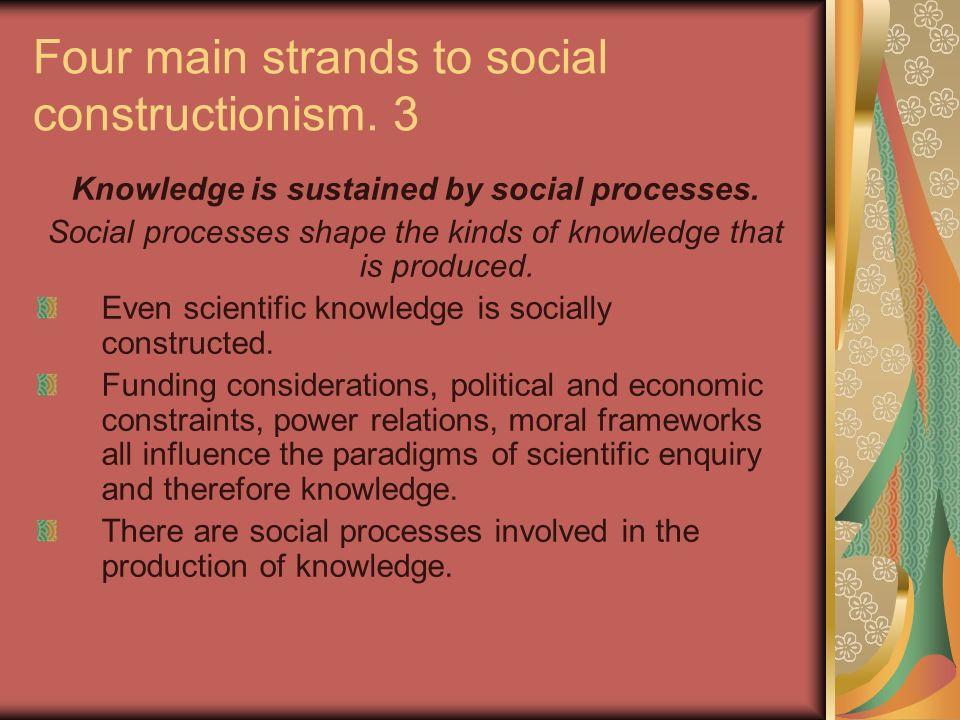 Four main strands to social constructionism. 3