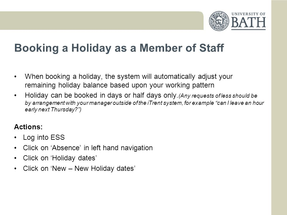 Booking a Holiday as a Member of Staff