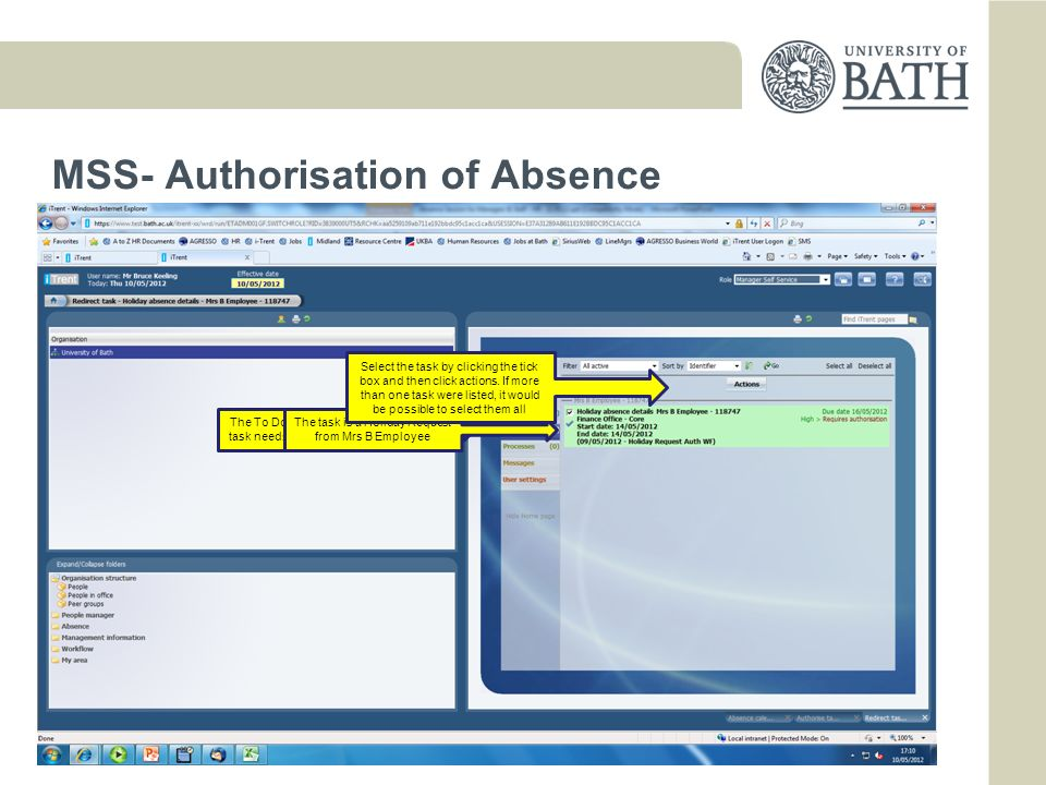 MSS- Authorisation of Absence