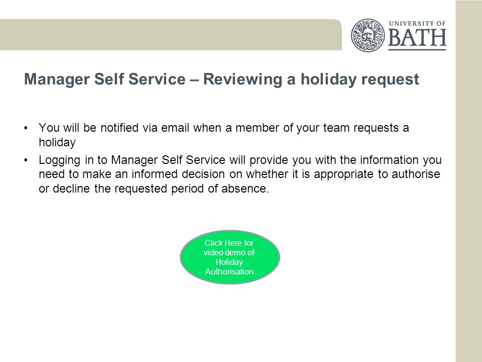 Manager Self Service – Reviewing a holiday request