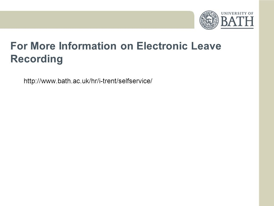 For More Information on Electronic Leave Recording