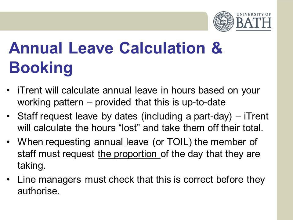Annual Leave Calculation & Booking