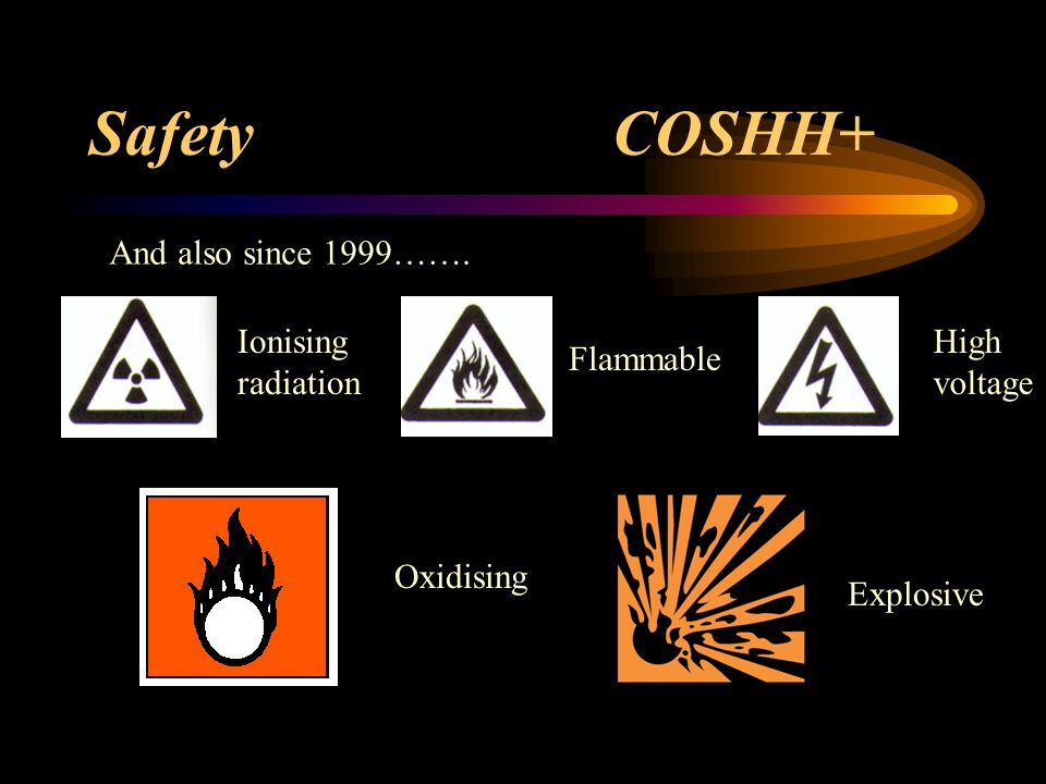 Safety COSHH+ And also since 1999……. Ionising radiation High voltage