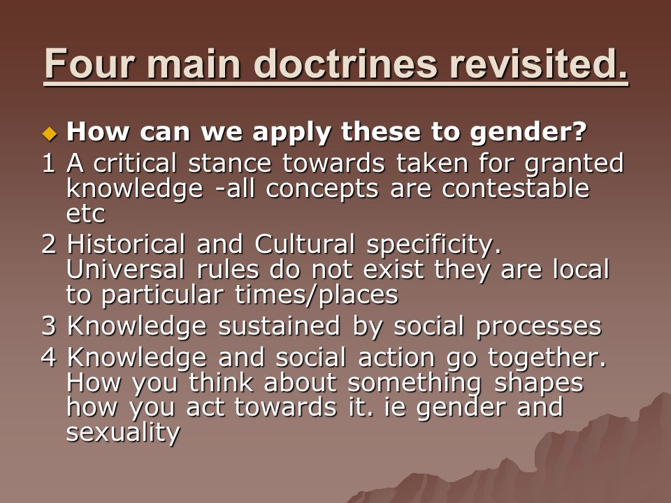 Four main doctrines revisited.