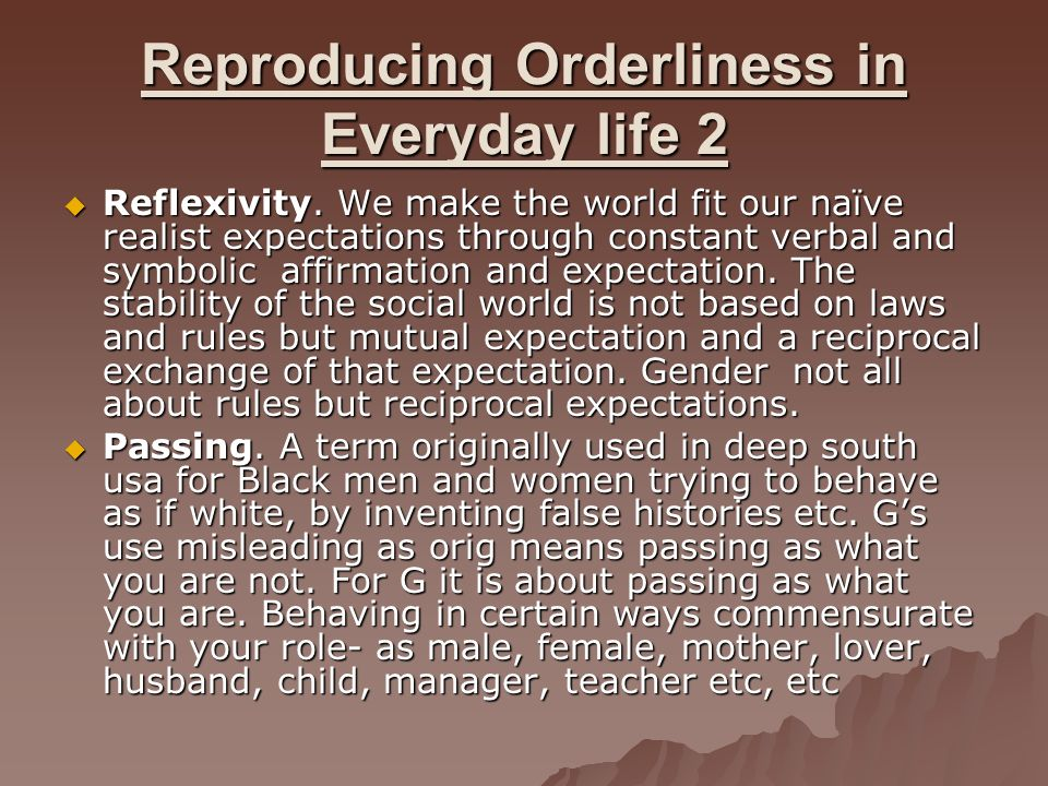 Reproducing Orderliness in Everyday life 2