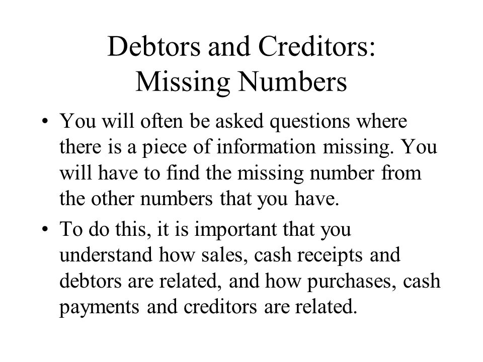 Debtors and Creditors: Missing Numbers