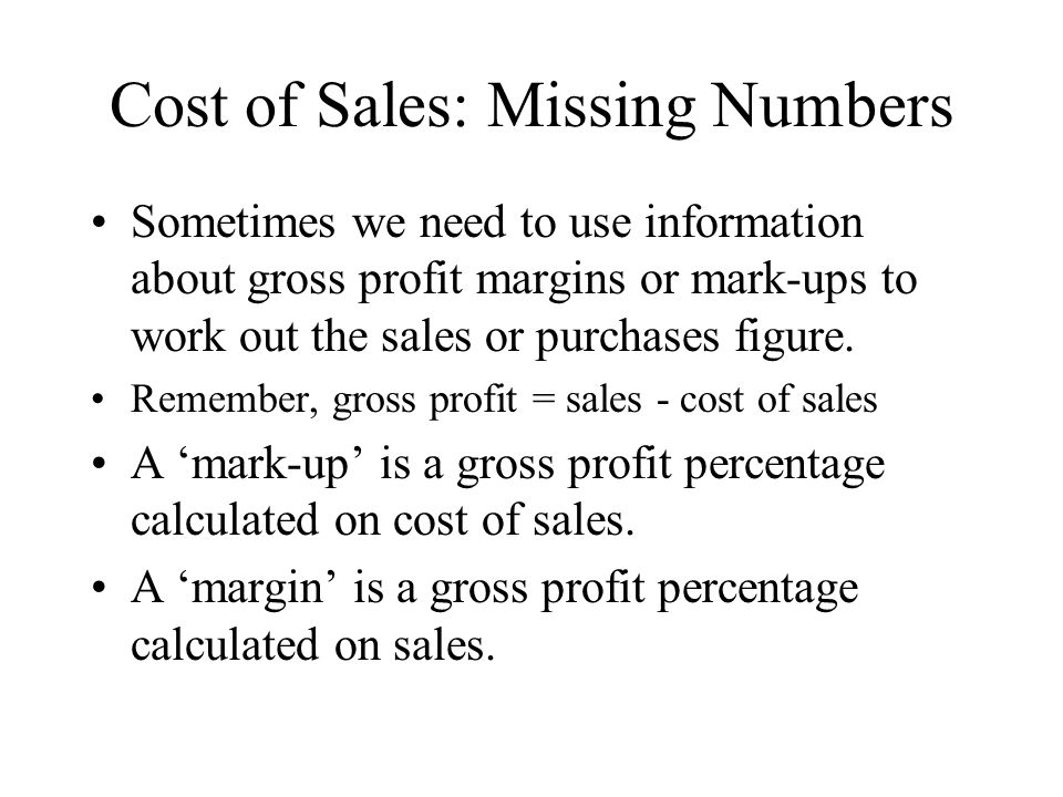Cost of Sales: Missing Numbers