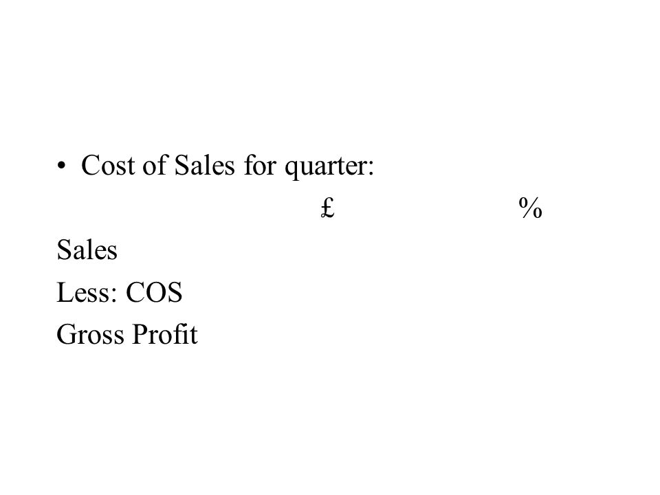 Cost of Sales for quarter: