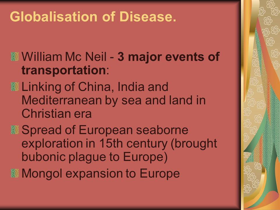 Globalisation of Disease.