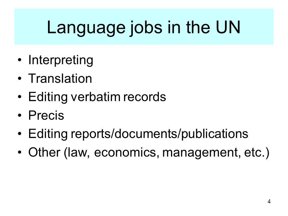 Language jobs in the UN Interpreting Translation