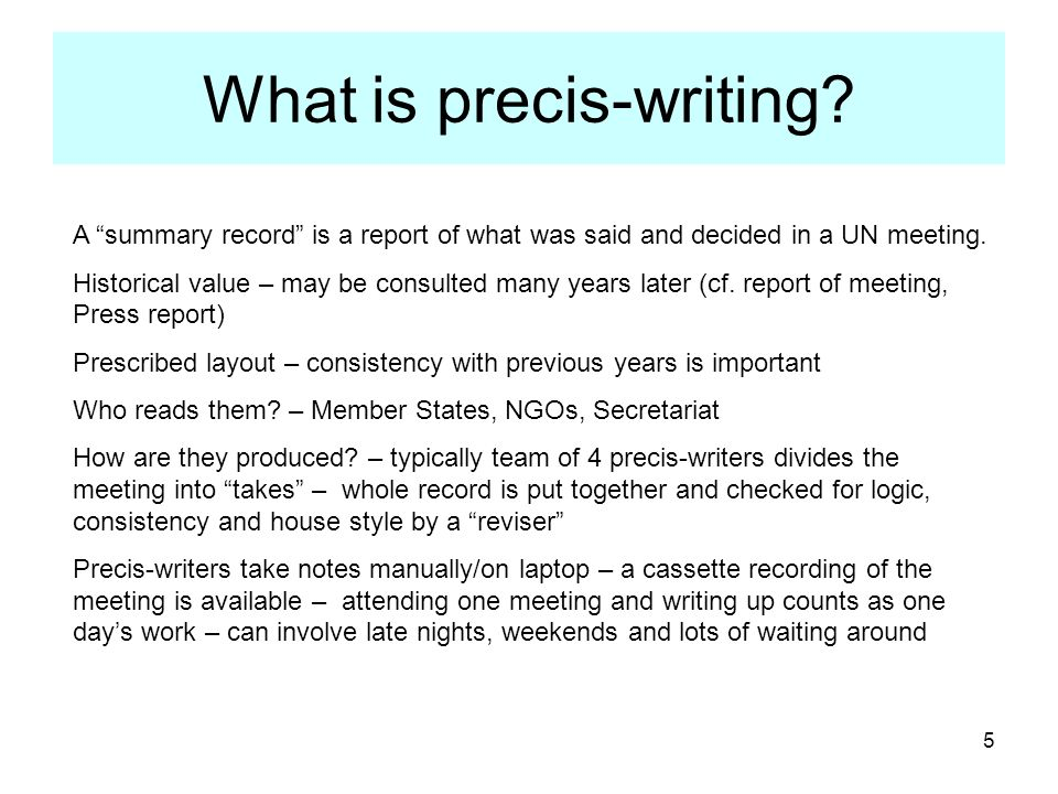 What is precis-writing