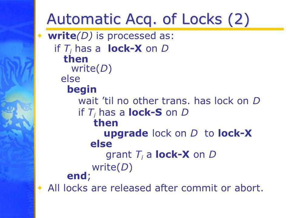 Automatic Acq. of Locks (2)