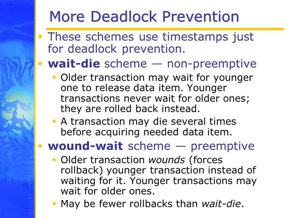 More Deadlock Prevention