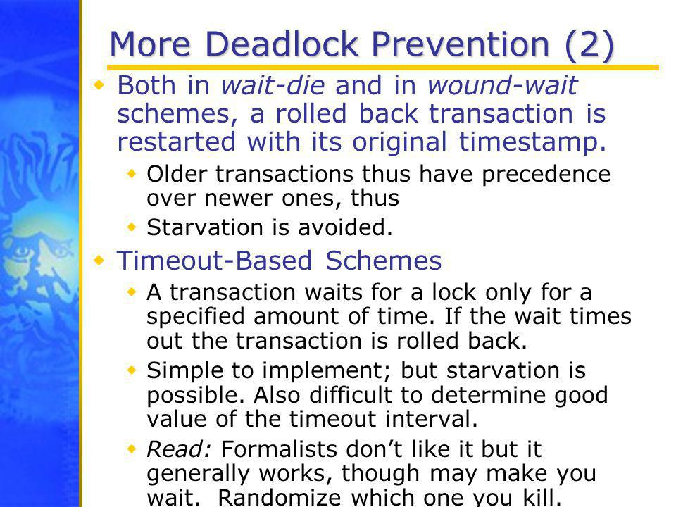 More Deadlock Prevention (2)