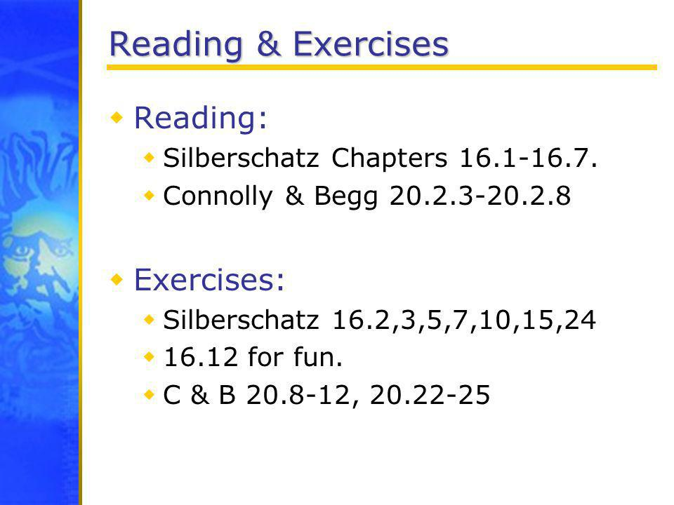 Reading & Exercises Reading: Exercises: