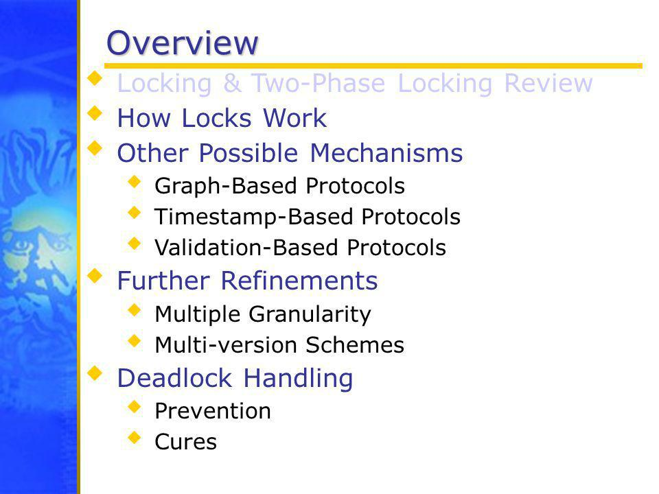 Overview Locking & Two-Phase Locking Review How Locks Work