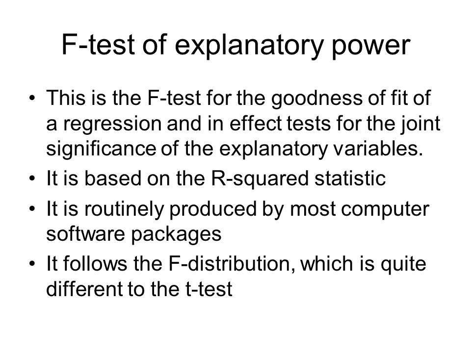 F-test of explanatory power