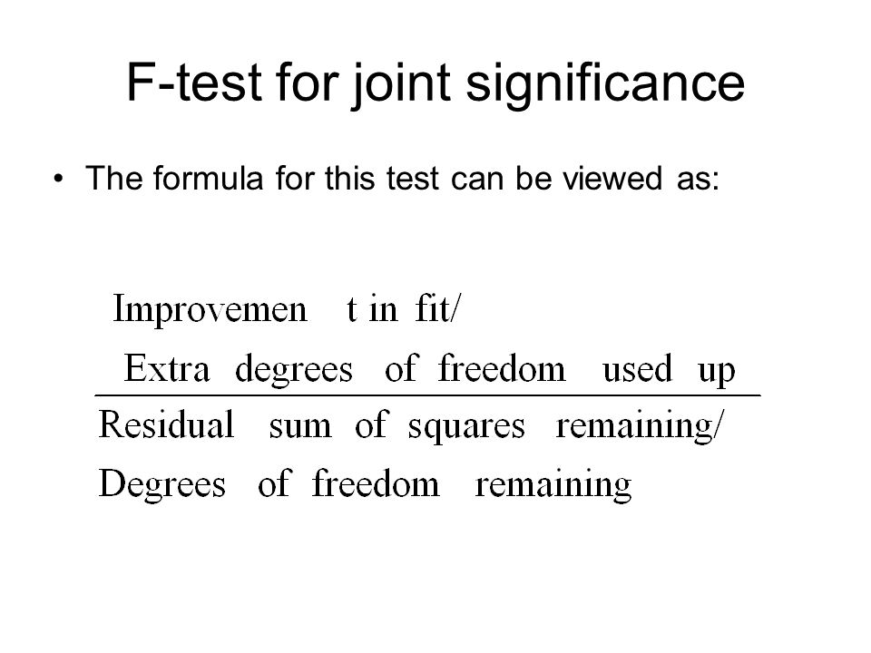F-test for joint significance