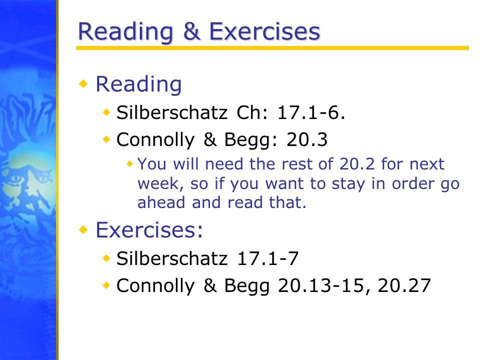 Reading & Exercises Reading Exercises: Silberschatz Ch: 17.1-6.