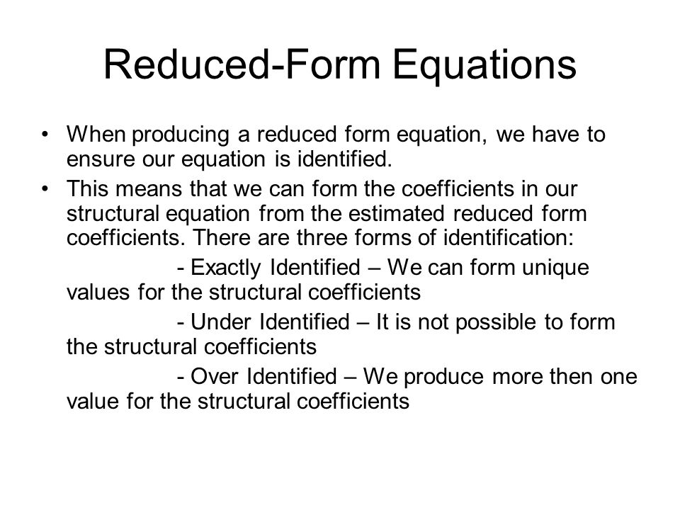 Reduced-Form Equations