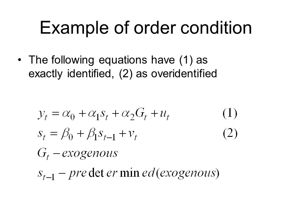 Example of order condition