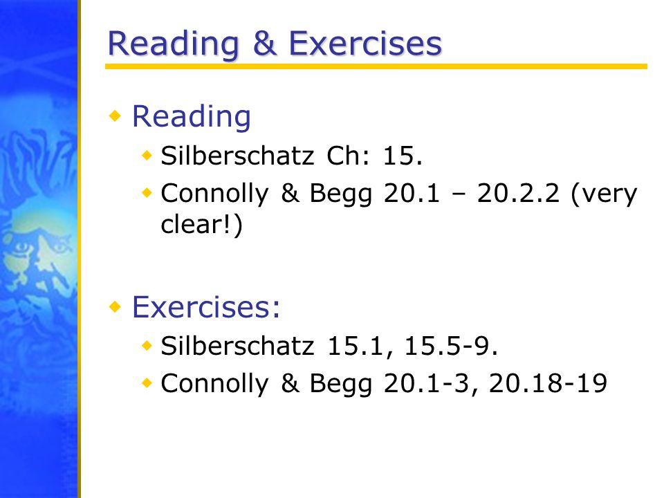 Reading & Exercises Reading Exercises: Silberschatz Ch: 15.
