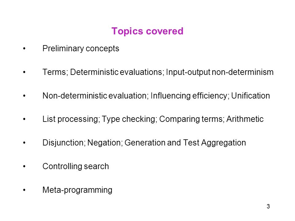 Topics covered Preliminary concepts