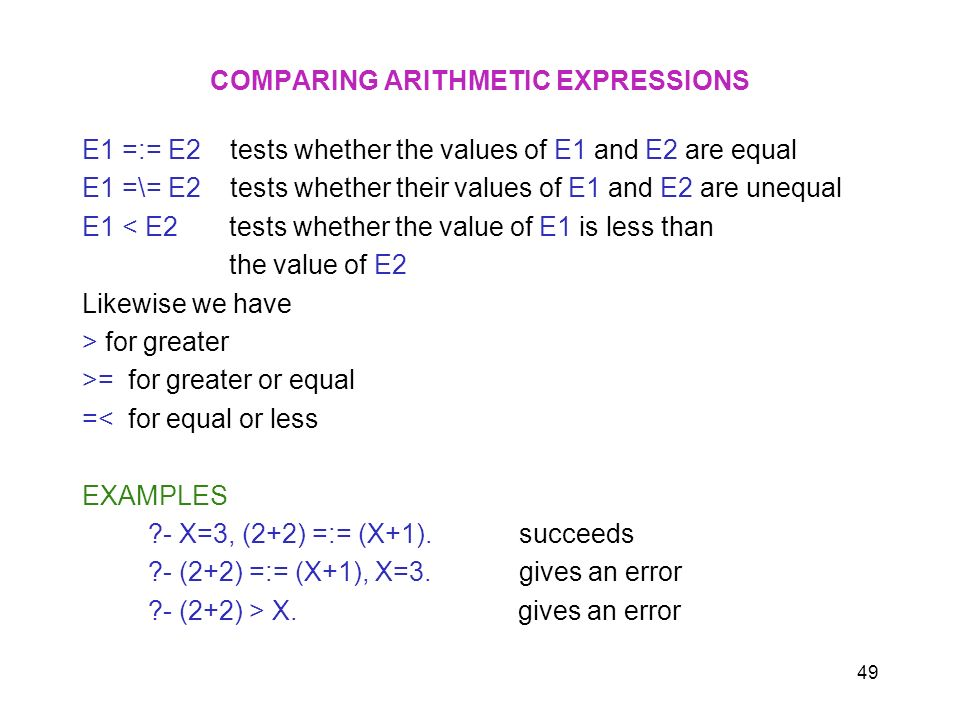 COMPARING ARITHMETIC EXPRESSIONS