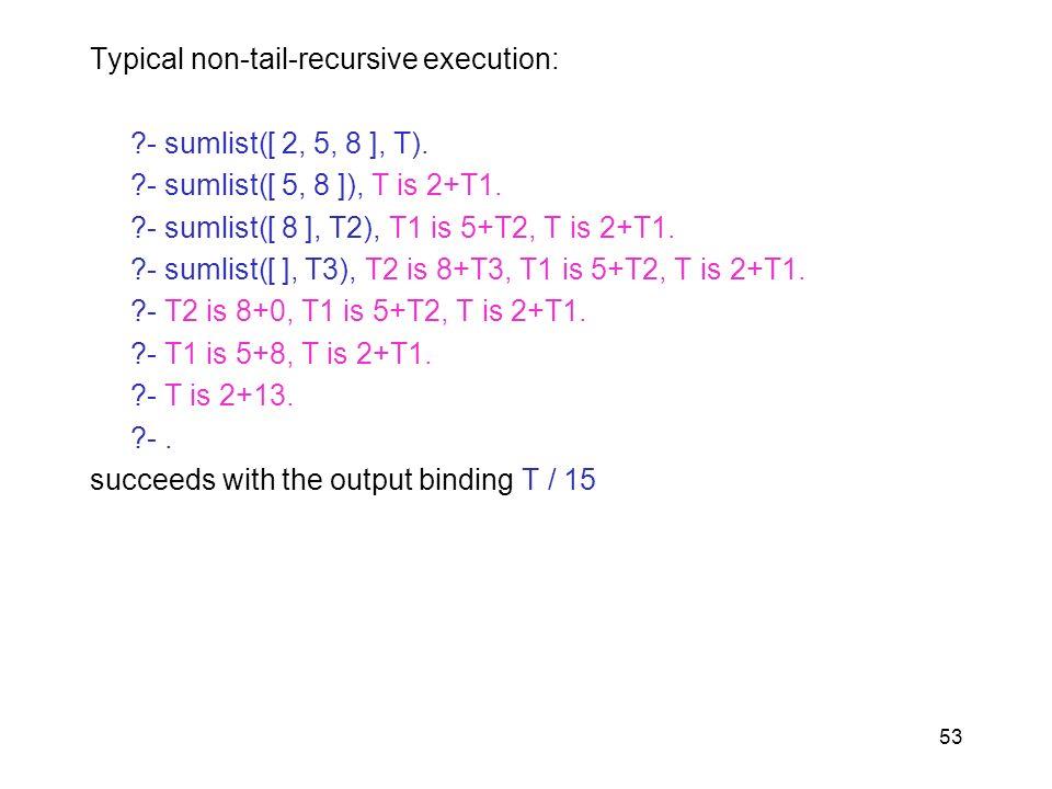 Typical non-tail-recursive execution: