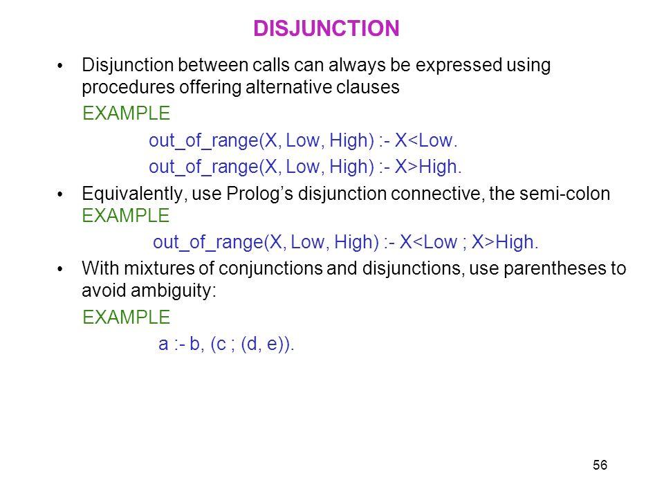 DISJUNCTION Disjunction between calls can always be expressed using procedures offering alternative clauses.