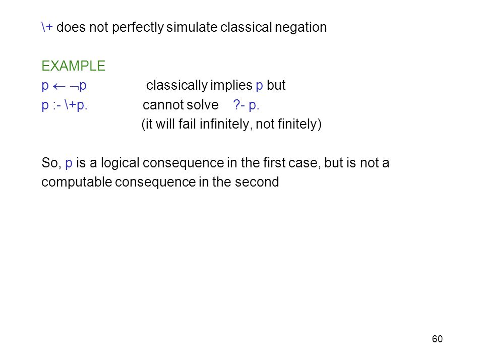 \+ does not perfectly simulate classical negation