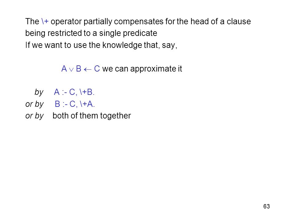 The \+ operator partially compensates for the head of a clause