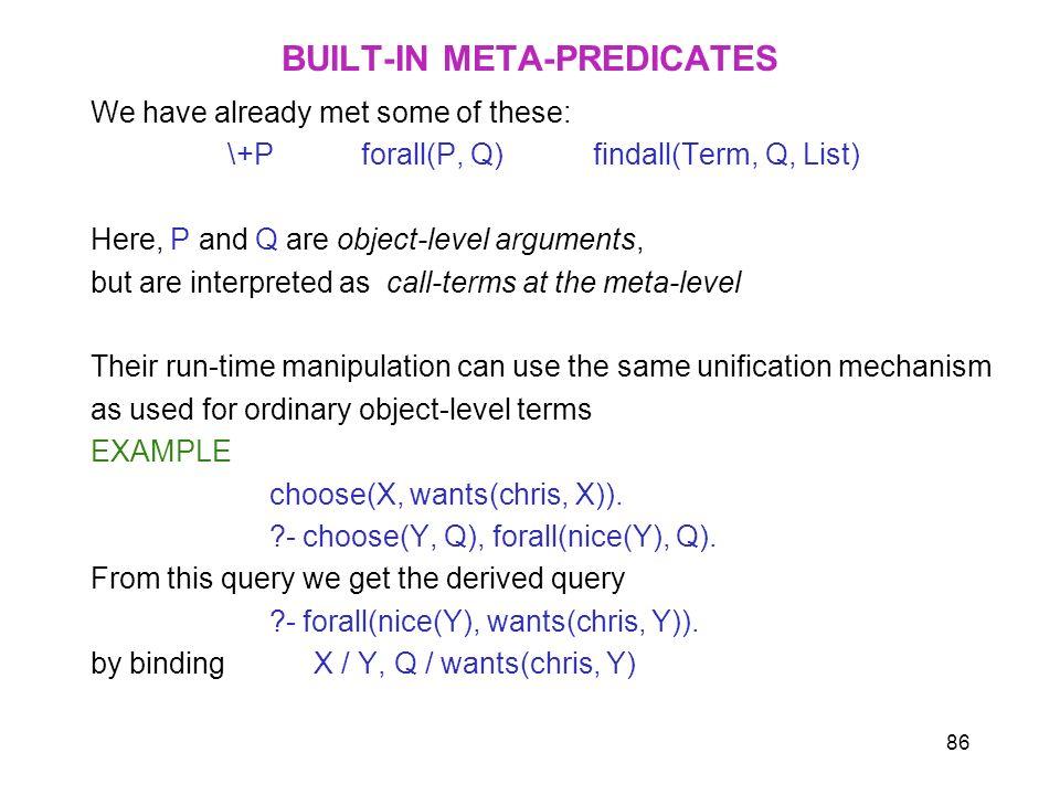 BUILT-IN META-PREDICATES
