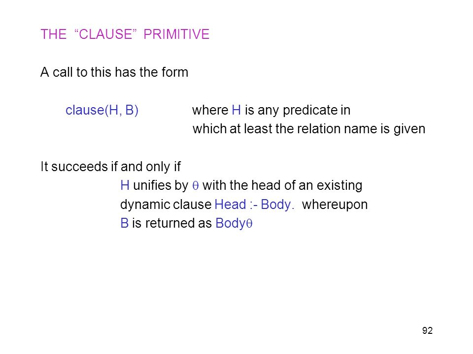 THE CLAUSE PRIMITIVE